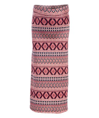 305bfc6f14ef5 Berry & Black Geometric Fold-Over Waist Maternity Maxi Skirt - Plus