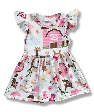 04057ddc2 White   Pink Farm Print Angel-Sleeve A-Line Dress - Infant
