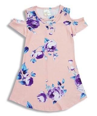 10707e96b Peach   Purple Floral Shoulder-Cutout Dress - Infant
