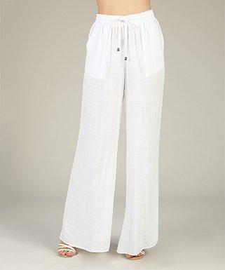 c85d2b497ae White Tie-Waist Palazzo Pants - Women   Plus