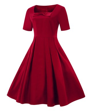 red bow accent a line dress women - Red Dress For Christmas