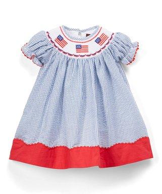 671d7ed8e03 Dark Blue   Red Seersucker U.S.A. Flag Smocked Bishop Dress - Infant