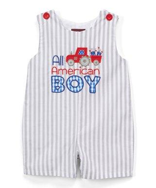 b2a6ae3c852b7 Gray   White  All-American Boy  Shortalls - Infant   Toddler