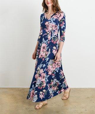 Maternity maxi dresses hello miz maternity navy floral faux wrap maternitynursing maxi dress mightylinksfo