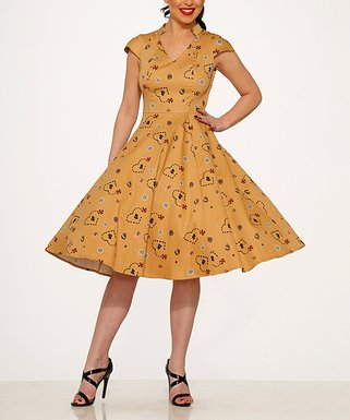 a2dd922a209 Mustard Pirate s Treasure Map A-Line Dress - Women
