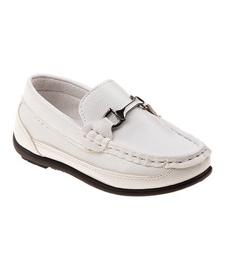 98ceb07beff White   Silver Link Loafer - Boys
