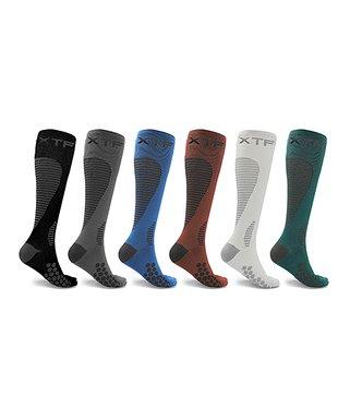 dda0020d20 XTF | Blue & Black Targeted 20-30 mmHg Compression Six-Pair Socks Set