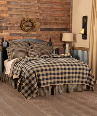 Vhc Brands Black Tan Check Quilted Coverlet