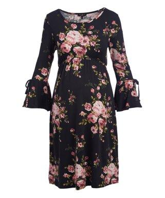 Black Floral Bell-Sleeve Maternity A-Line Dress 0ec00ae30778