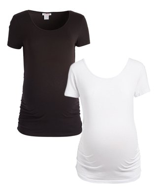 d94298828f0d Times 2 | Black & White Ruched Scoop Neck Maternity Tee Set - Plus Too