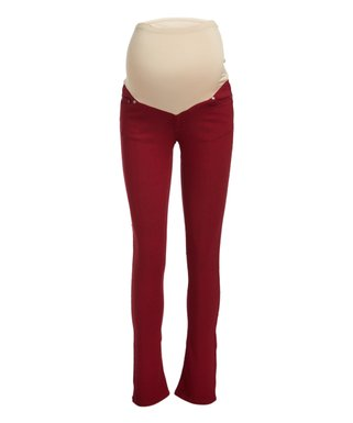 4b7bcd79171 Times 2 | Burgundy Over-Belly Five-Pocket Maternity Bootcut Jeans - Plus Too