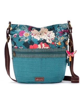 34e7511d2c Teal   White Floral Artist Circle Crossbody Bag