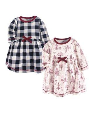 220c16e6a12 Black Plaid   Red Winter Woodland Bow-Accent A-Line Dress Set - Newborn