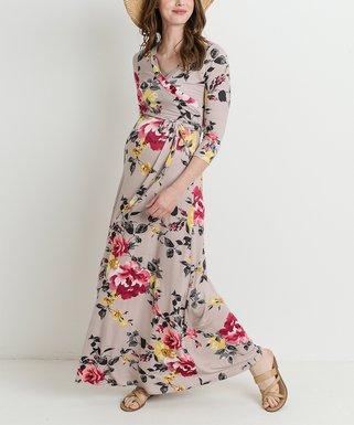 022ee57e82289 Dusty Pink Flower Maternity/Nursing Maxi Dress
