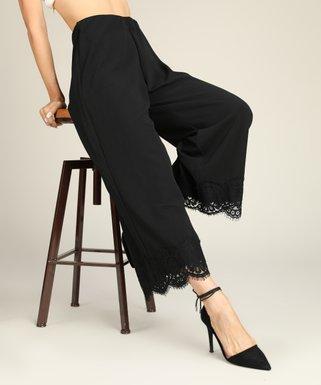 90674b0055b Black Lace-Hem Wide-Leg Crop Pants - Women   Plus