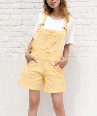 e50b63dcede Yelllow Tie-Strap Overall Shorts - Women   Plus