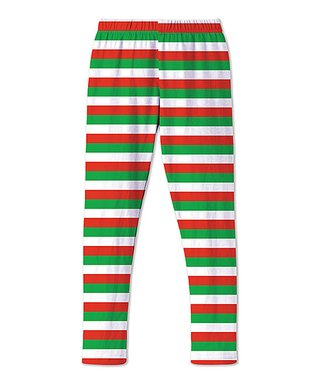 red green stripe leggings toddler girls