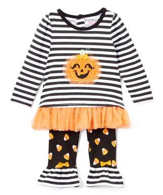 42e4ad15feba5 Black Stripe Pumpkin Ruffle Tunic   Polka-Dot Ruffle Leggings - Infant