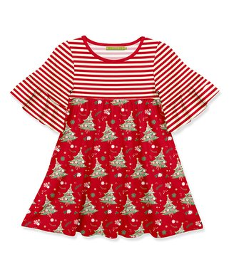 red stripe christmas tree ruffle sleeve a line dress toddler girls - Christmas Clothes For Kids