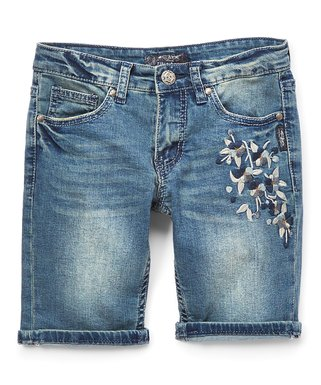 a98e196ad8 Medium-Wash Embroidered Bermuda Denim Shorts - Girls