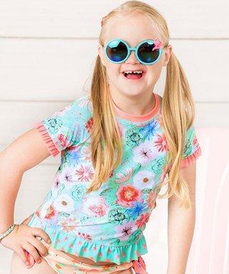 5ddaa76f7c Matilda Jane Clothing | Aqua Floral Riding the Waves Rashguard - Toddler &  Girls