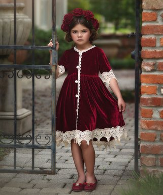 trish scully child burgundy rosalina dress infant toddler girls - Girl Christmas Dresses