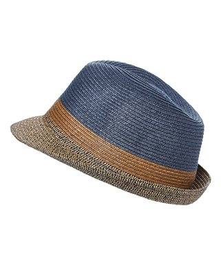 049886df20292e DNMC | Navy & Brown Straw Packable Fedora