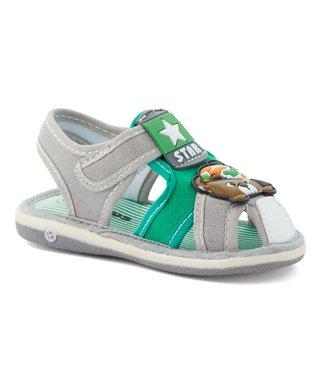 61f67674d6 Gray   Green Bear  Star  Squeaker Sandal - Boys