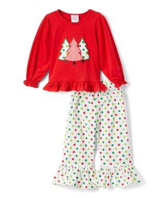 red christmas tree appliqu ruffle top white polka dot ruffle pants infant toddler girls
