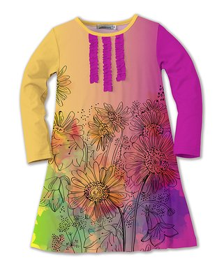 yellow pink watercolor floral swing dress toddler girls