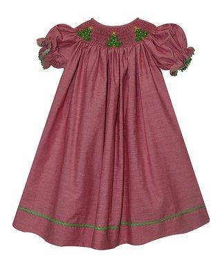 76cf079ffcb9 cotton blu cotton pink red gingham christmas tree smocked bishop dress  infant