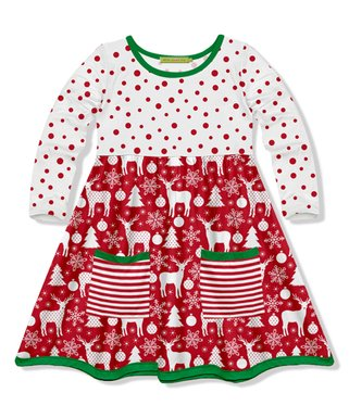white red dot reindeer pocket a line dress toddler girls - Girls Red Christmas Dress