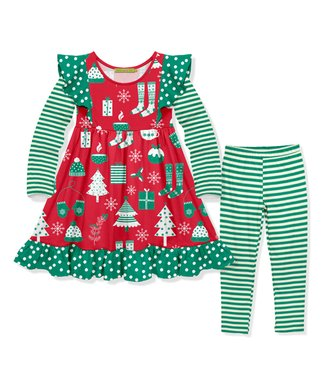 red green holiday angel sleeve dress green stripe leggings toddler - Christmas Clothes For Kids