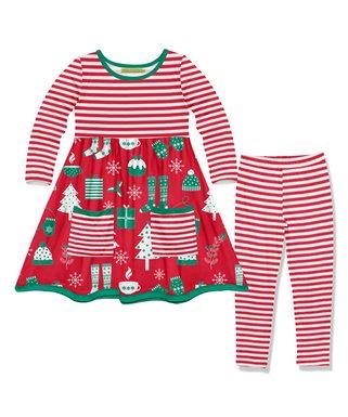 red holiday stripe pocket a line dress red stripe leggings toddler girls - Girls Red Christmas Dress
