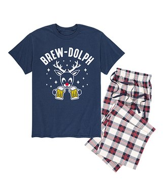 navy ivory plaid brew dolph pajama - Snoopy Christmas Pajamas