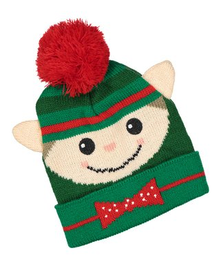 Red   Green Elf Pom-Pom Beanie 058b1e02ba0d