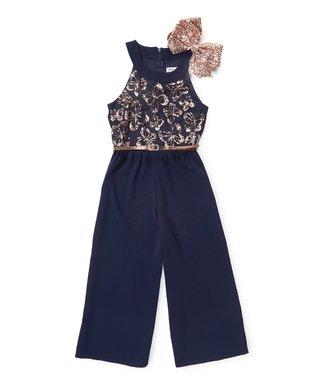 7eec47e9eede Navy Butterfly Sequin Jumpsuit   Bow Set - Girls