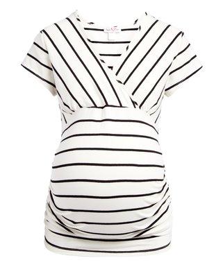 ba65420915 Off-White   Black Stripe Maternity Nursing Surplice Tee - Plus Too