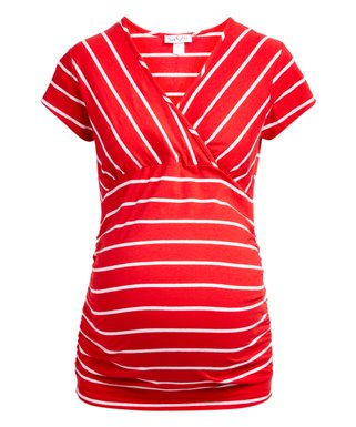 a3f3763c471a Red & White Stripe Maternity/Nursing Surplice Tee - Plus Too