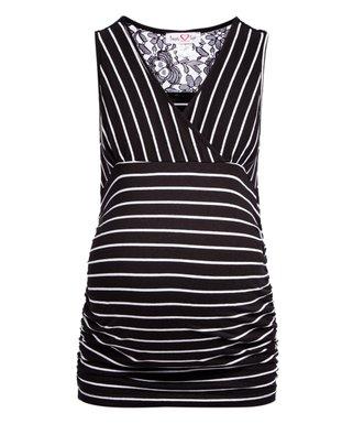 dfa42d6ffb96f1 Black   White Stripe Lace-Insert Maternity Tank - Plus Too