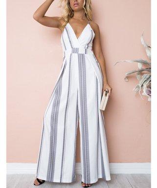 974549f580f Gray   White Stripe V-Neck Jumpsuit - Women