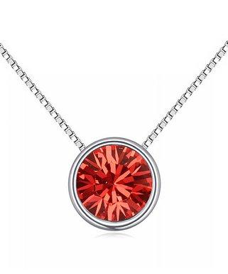 d567a2253 callura | Red & Silvertone Round Pendant Necklace With Swarovski® Crystals