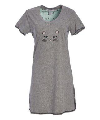 97ada137d13a Gray & Blue Cat V-Neck Sleep Dress - Women & Plus
