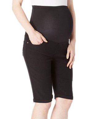 daa9fc2a48 Times 2 | Black Over-Belly Twill Maternity Bermuda Shorts - Plus Too