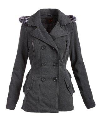 343c194015f Charcoal Hooded Peacoat - Women   Plus