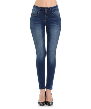 c1a0e8b0e82e6 Dark Blue Double-Button Push-Up Skinny Jeans - Women & Juniors