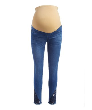 550c47756946c Medium Wash Laser-Cut Maternity Jeans