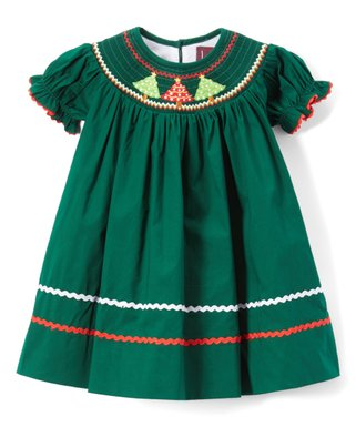 lil cactus dark green christmas tree smocked bishop sleeve dress infant toddler - Green Christmas Dress