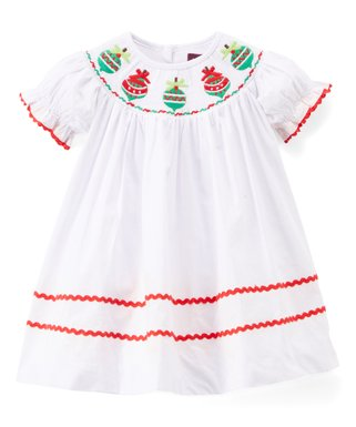 white christmas ornament smocked shift dress infant toddler girls - Girl Christmas Dresses