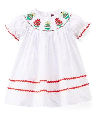 white christmas ornament smocked shift dress infant toddler girls - White Christmas Dress